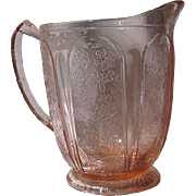 Cherry Blossom Depression Glass Pitcher, Pink, Pedestal Base