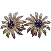 Pair of Weiss Black-Eyed Susan Clip Earrings