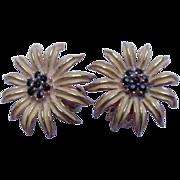 Pair of Weiss Black-Eyed Susan Clip Earrings