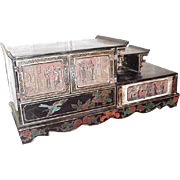 Asian Writing Cabinet, Lacquered, Carved, Hand-Painted