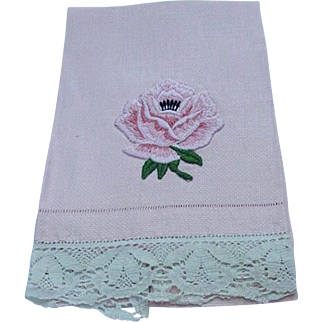 Vintage Pink Guest Towel with Pink Rose Embroidered Design and Lace Border