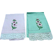 Pair of Pink and Green Guest Towels with Trio of Embroidered Daisies