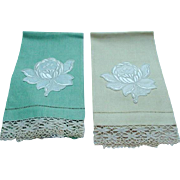 Pretty Pair of Guest Towels with Appliques and Lace Borders