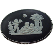 Wedgwood Brooch, Oval Jasperware, Cupids, Sterling Frame