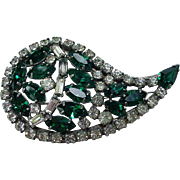 Emerald-Colored and Clear Rhinestone Pin, All Prong-Mounted Stones