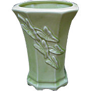Mid-Century Pottery Vase, Chartreuse with Leaves in Relief