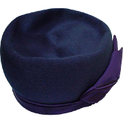 Vintage Peacock Blue Hat, Henry Pollack, New York