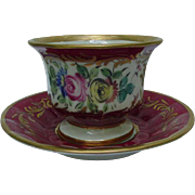 19th C.Porcelain Cup and Saucer, Magenta with Floral Reserve, Gold Accents