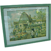 Vintage Print, City Scene and Flower Market, Holland
