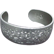 Kirk Pewter Bracelet, Wide Cuff, Engraved Flowers