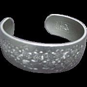 Kirk Pewter Bracelet, Wide Cuff, Engraved Flowers