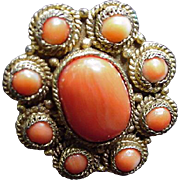 Vintage Chinese Brass Ring Embedded with Oval and Round Coral