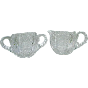 Cut Glass Cream Pitcher and Sugar, Star Cuts