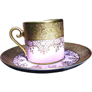 Delectable Tirschenreuth Demitasse Cup and Saucer, Pompadour Pink, Ornate Gold Borders
