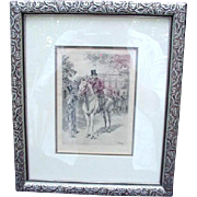Framed Illustration, 1898, Men in Top Hats, One on Horseback