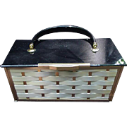 Majestic Handbag with Lucite Lid and Handle, Woven Metal Sides
