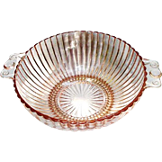 Pink, Double-Handle Depression Glass Bowl with Ribbed Sides