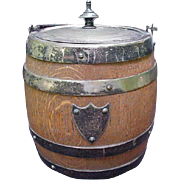 English Oak Humidor or Biscuit Barrel with Silverplated Lid and Handle