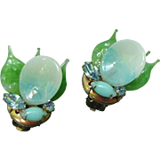 1950s Vintage Seaform Blown Glass Leaf Clip Earrings with Azure Rhinestones