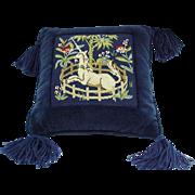 Vintage Needlepoint Pillow, Unicorn Design