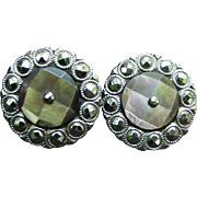 Victorian Steel Cut Earrings with Abalone Shell Center, Sterling Screw Backs