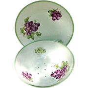 Vintage Porcelain Grape Bowl with Under Plate, Czechoslovakia