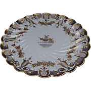Superb Silver and Gold Decorated, English Porcelain Cake Plate, 1885-6