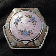 Enamel and Silver Compact, Engine Turned Lid, Six-Sided