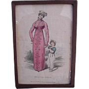 1812 Engraving of Mother and Child for Fashion Publication, Ensemble Entitled Morning Dress
