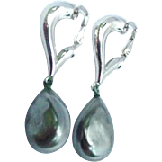 Trifari Silvertone Clips with Simulated Pearl Drops