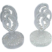 Pair of Vintage Perfume Bottles with Elaborate Lily of the Valley Stoppers