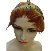 Vintage 1960s Feathered Headband Hat by Poppy, New York