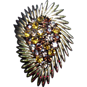Stylized Ovoid Brooch, Gold-Tone Metal with Amber-Colored Rhinestones in Center