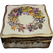 Vintage Painted Florentine Box with Summer Wreath on Lid