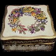 Vintage Painted Florentine Box with Summer Wreath on Lid