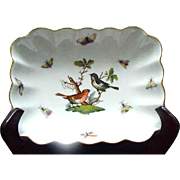 Herend Rothschild Rectangular Dish, Gold Accented Rim, Birds