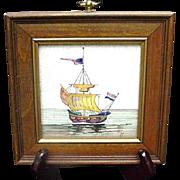 Vintage Delft Tile Decorated with Sailing Vessel, Framed