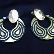 Napier Stylized Peacock Hoop Earrings, Clip & Screw Back Combo