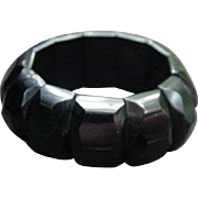 Snazzy Vintage Black Bakelite Bracelet with Faceted Panels