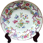 Cauldon Dinner Plate, Pattern 3206, Asian Influence, Florals, Basket, Rocaille Scrolls