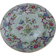 Cauldon Dinner Plate, Pattern 3205, Flowers and Rocaille Scrolling, Asian Influence