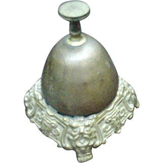 Vintage Brass Desk Call Bell with Lion's Head Ornamentation