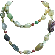 Polished Hardstone Necklace, Rose Quartz, Jade, Agate, with Gold-Tone Spacers