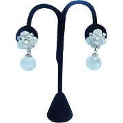 Pair of Vintage Clips, White and Clear Beads with Dangles