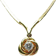 Gold-Tone Necklace with Rhinestone Pendant