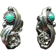 Dainty Pair of Sterling and Turquoise Vintage Clip Earrings by Ida M., Navaho, Native American