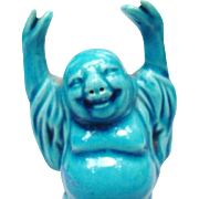 Turquoise Glazed Buddha, Marked China
