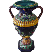 Monumental, Double-Handled Majolica Vase, Deep Blue, Amethyst, Yellow and Brown