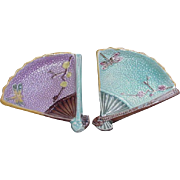 Pair of Majolica Fan Dishes with Peach Blossom Decoration