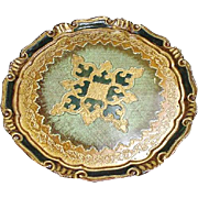 Vintage Florentine Tray with Gold and Green Design